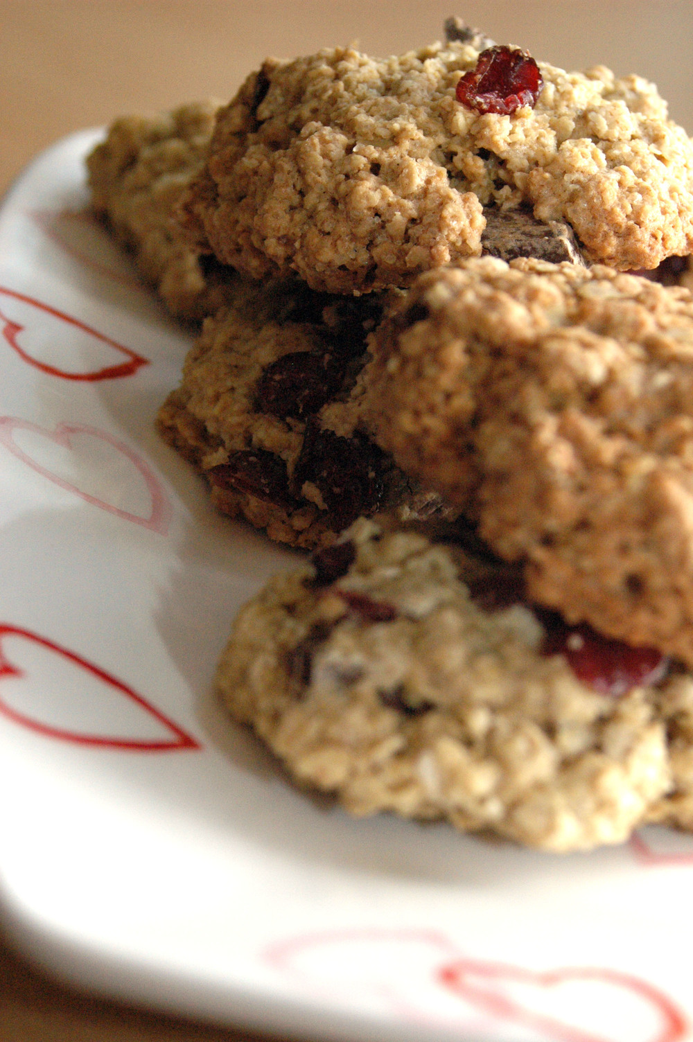 Chocolate and Cranberry Oat Cookies