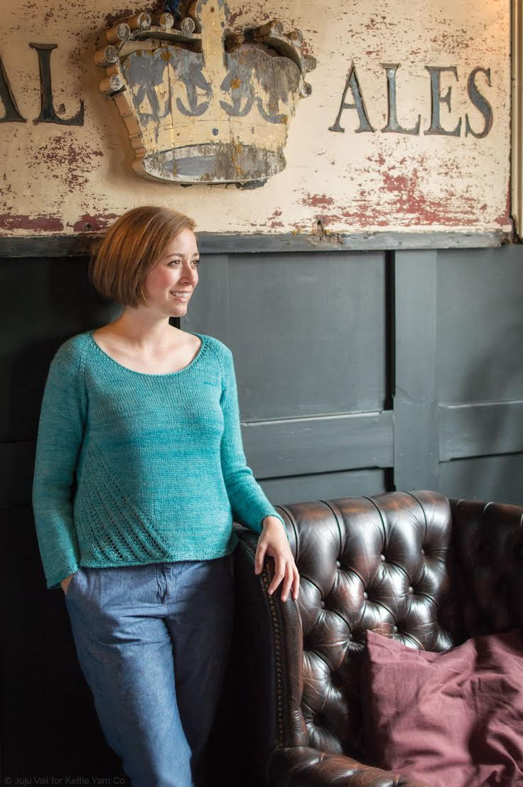 Arcade  in ISLINGTON DK  Verdigris , by  Isabell Kraemer   © Juju Vail for Kettle Yarn Co.