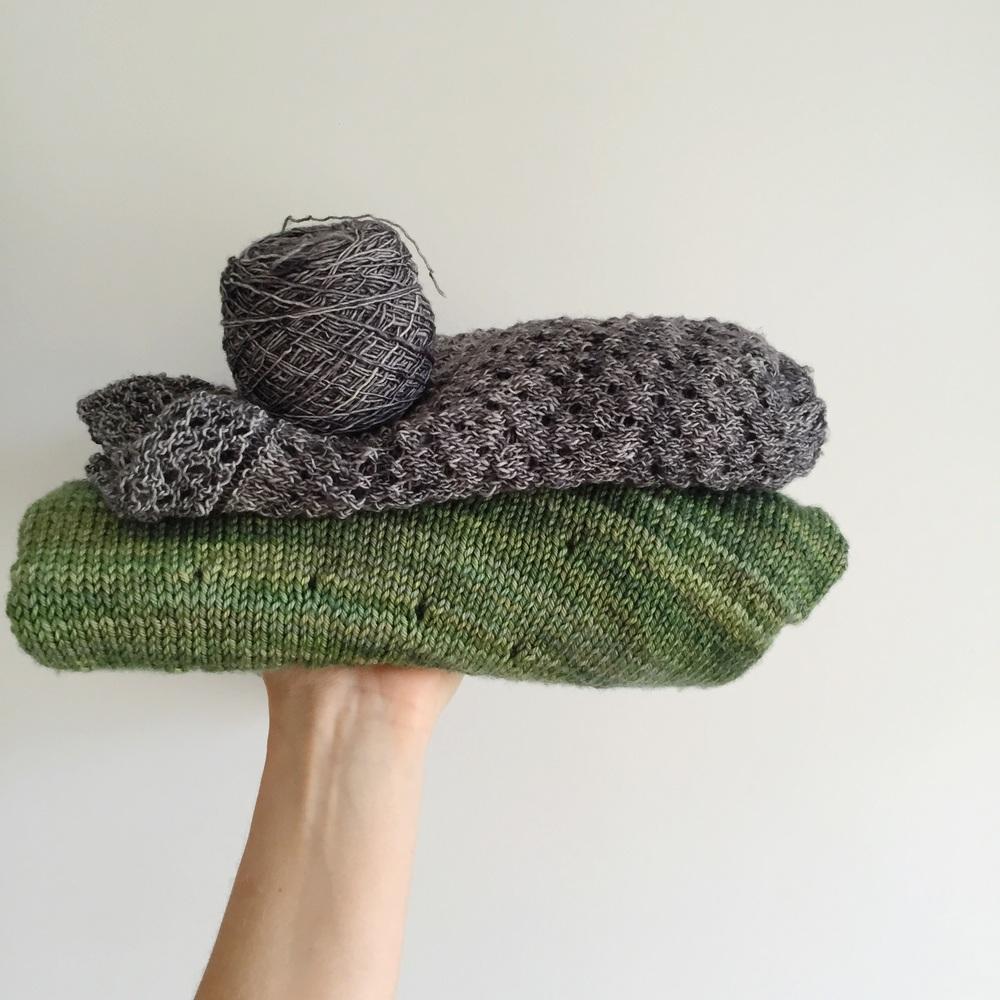 piles of knitting