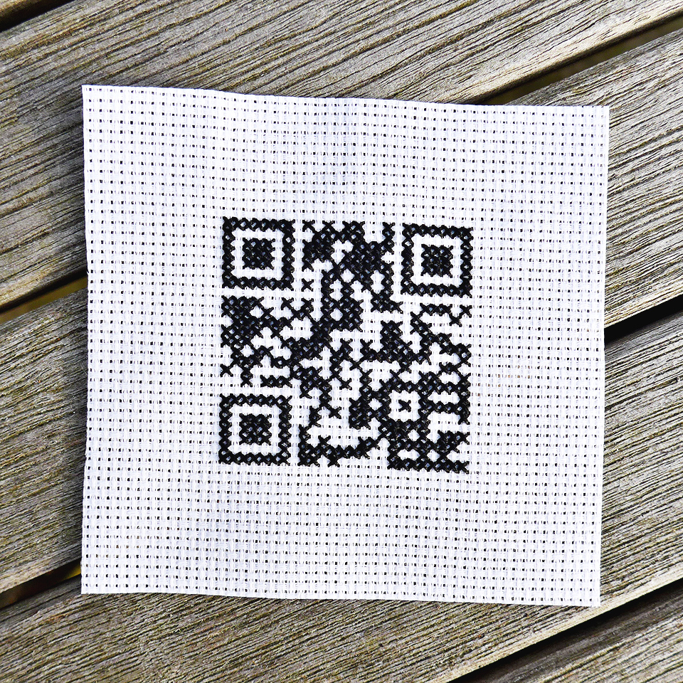 Martine's tutorial  How to Cross Stitch a QR Code can be found on her website,  here .