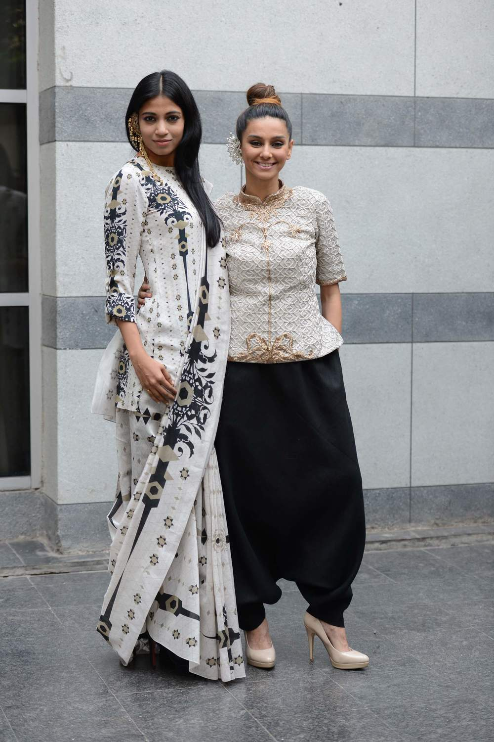 Shibani Dandekar and Bhagyashree Raut dressed in Lady Sahara by Payal Singhal