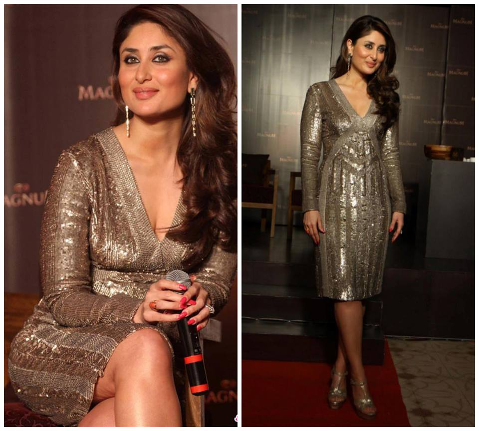 Kareena Kapoor in a Cue dress and Saint Laurent Tributes