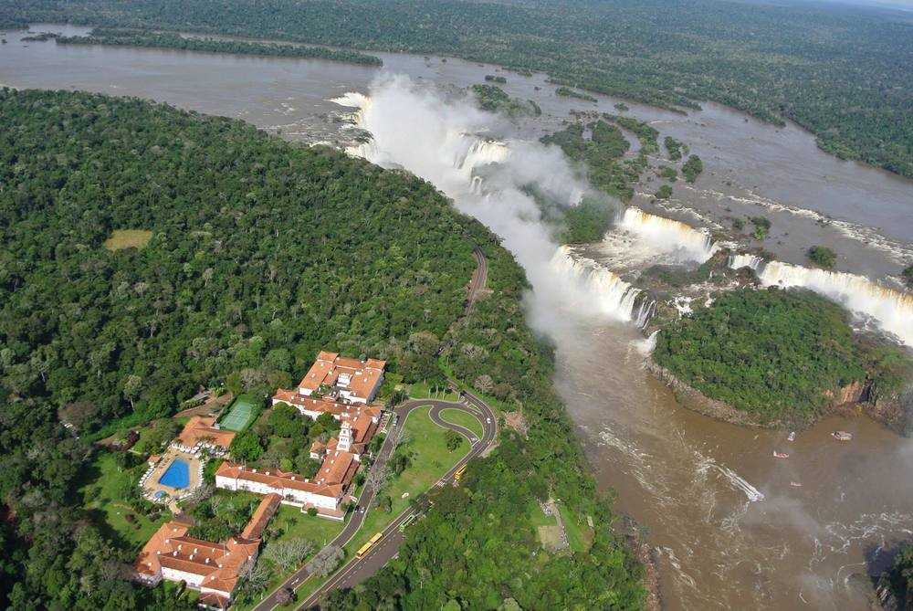 View of Hotel Das Catartas and Iguazu Falls from Helicopter