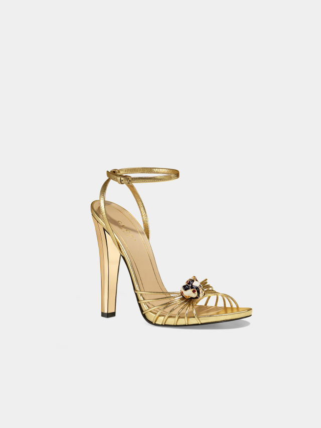 a71e6a33ade Gucci  Lucielle   high-heel sandals in gold with a tiger head ornament.  Stunning  -)