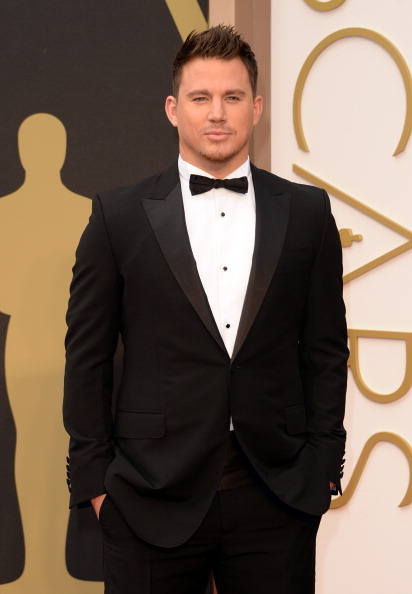 Channing Tatum  wore a Gucci black peak lapel one button City tuxedo with a white evening shirt, black silk cummerbund, black silk bowtie and black leather laceups.