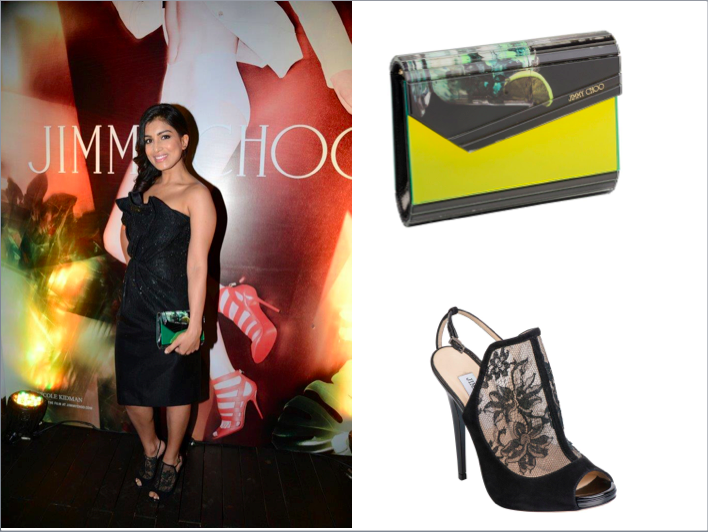 Pallavi Sharda in a Giorgio Armani dress, carrying Jimmy Choo Cocktail Candy and wearing Jimmy Choo Mayleen sandals