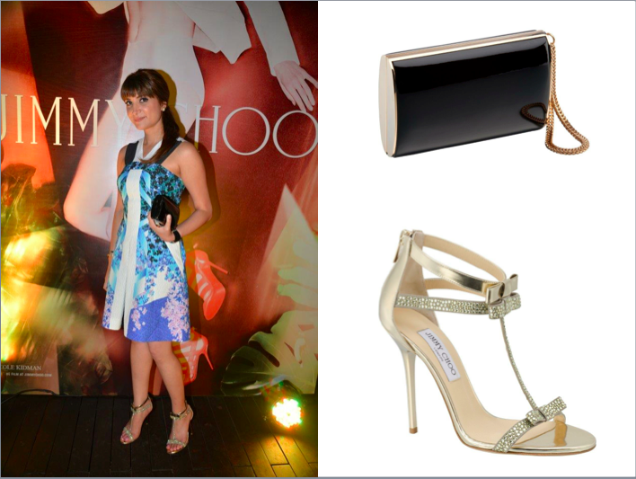 Host Michelle Poonawalla wearing Jimmy Choo Escape sandals & carrying the Jimmy Choo Carmen clutch