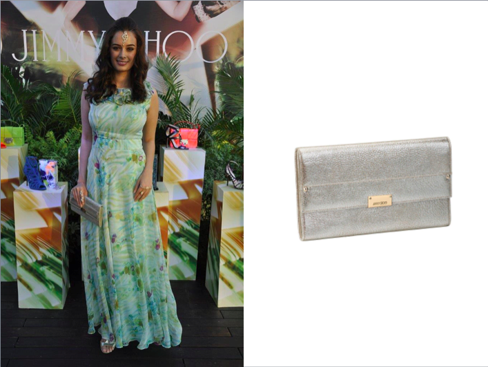 Evelyn Sharma carrying the Jimmy Choo Reese