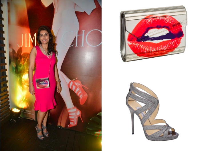 Deepika Gehani in an Emporio Armani dress, carrying the Jimmy Choo Lip Candy & Jimmy Choo Collar shoes