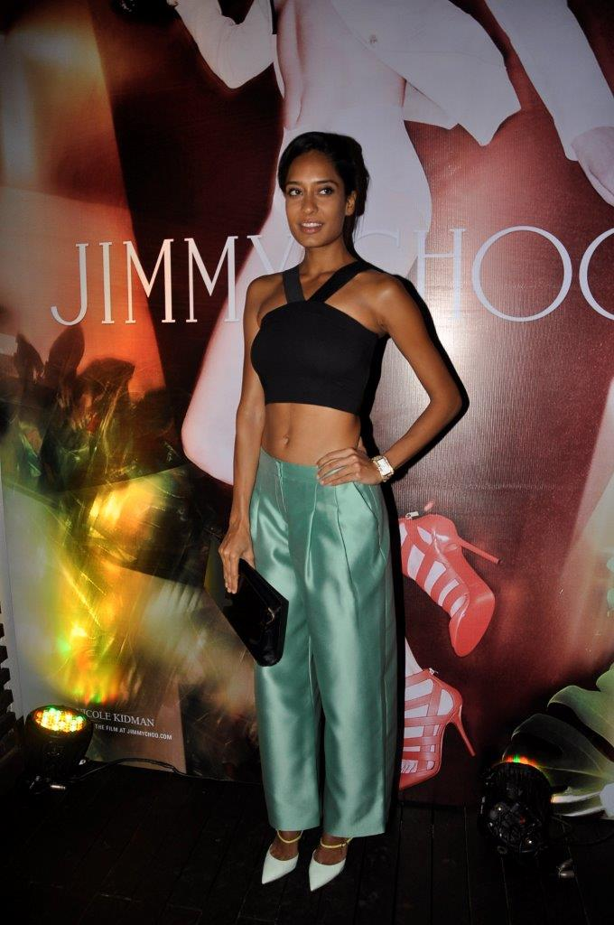 Lisa Haydon in Giorgio Armani & Jimmy Choo Typhoon shoes & Chill clutch