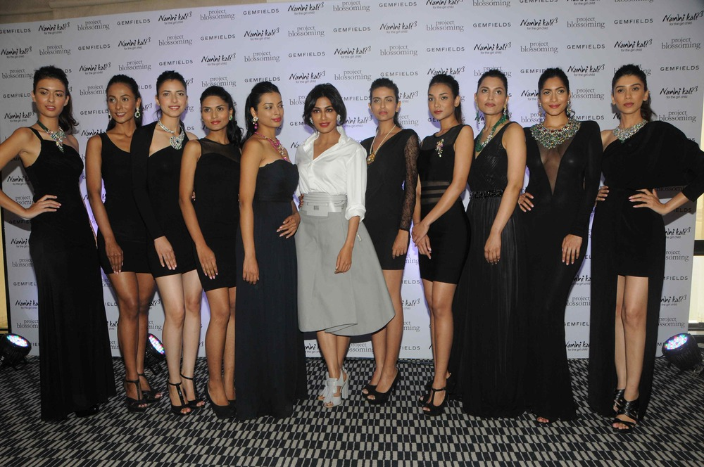 Chitrangda Singh with models dislaying the Project Blossoming collection