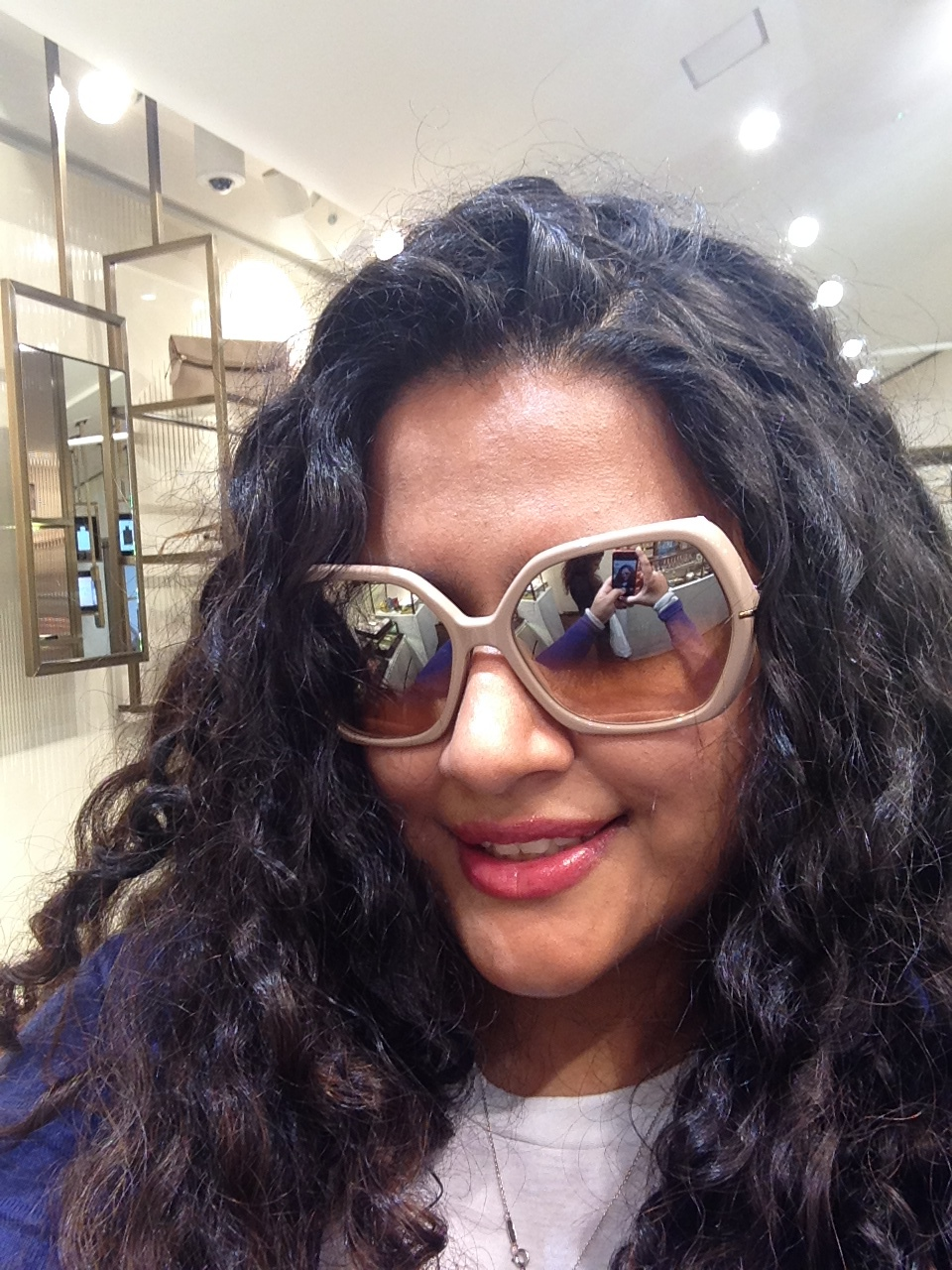 There is always time for a selfie. The store also houses Burberry's sunglasses collection. Love this pair.