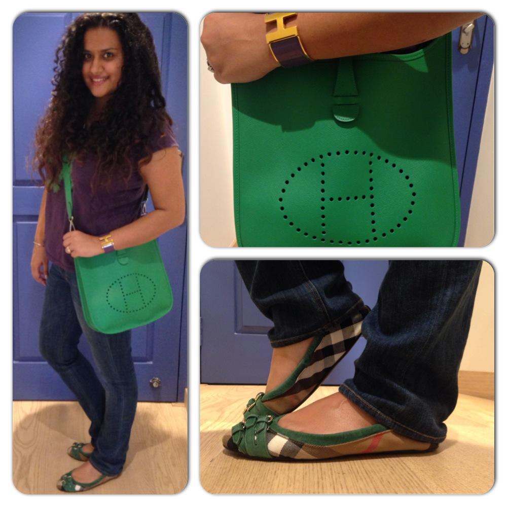 T-Shirt: Emporio Armani, Bag: Hermes, Jeans: True Religion, Cuff: Hermes, Shoes: Burberry