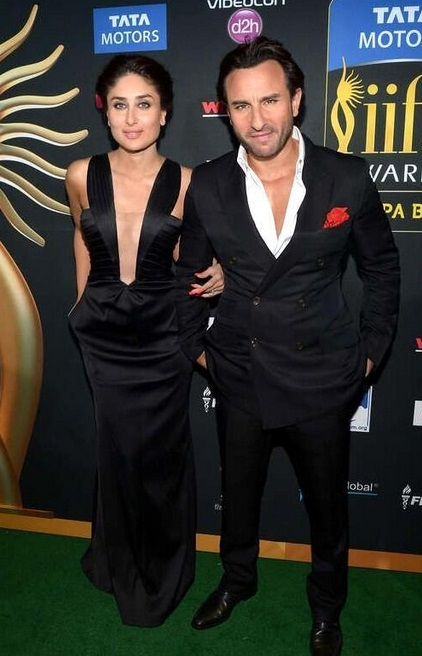 Kareena Kapoor in Giorgio Armani & Saif    Ali Khan in a double-breasted suit