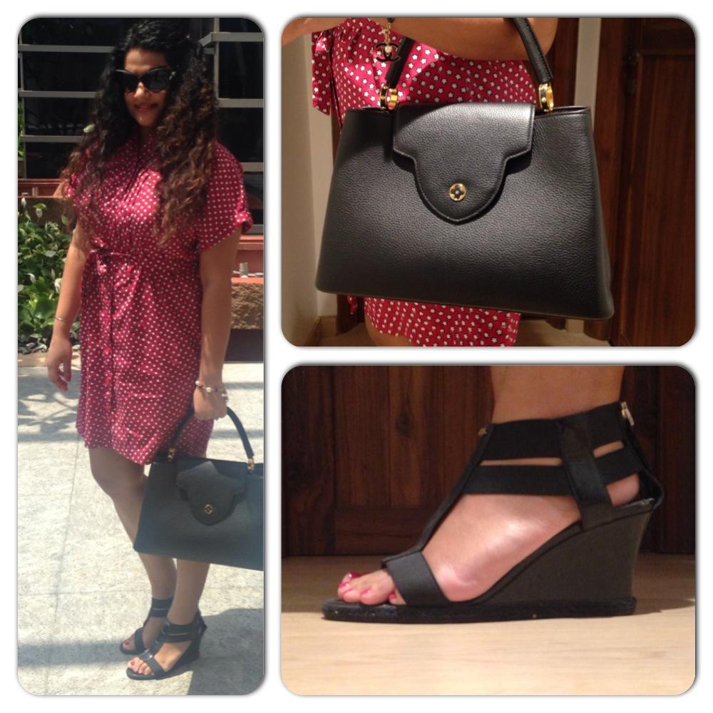 Dress: Burberry; Wedges: Fendi; Bag: Louis Vuitton; Sunglasses: Dior