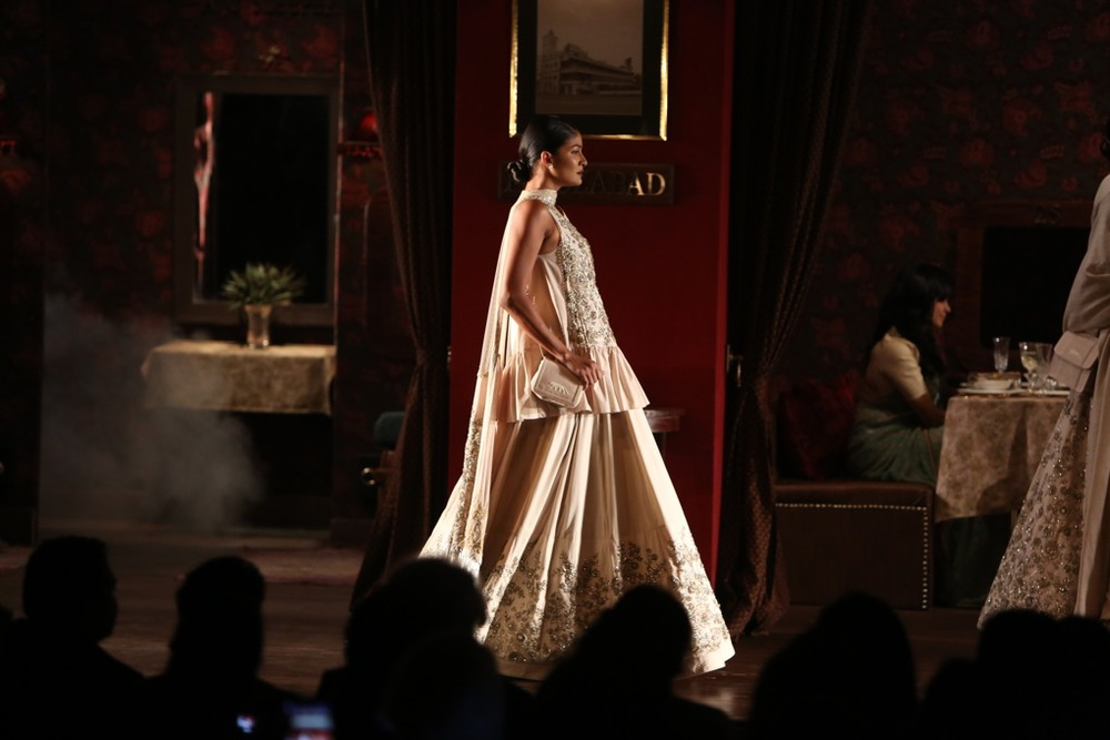 Zardozi, parsi and bugle beaded poplin kurta and lehenga, tulle and khadi dupatta