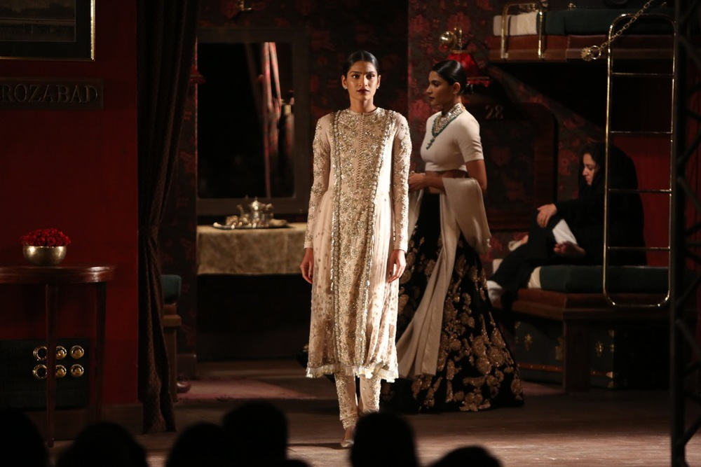 Khadi tulle and canvas kurta-churidar and dupatta embellished with crystals, parsi, zardozi and hand cut bugle beads