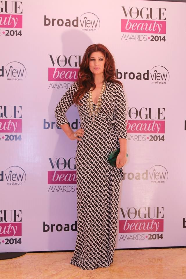 Twinkle Khanna in Diane von Fürstenberg at the Vogue Beauty Awards 2014