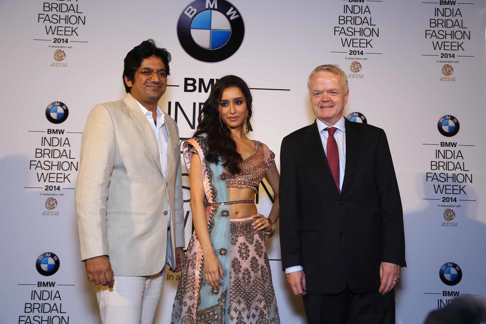 Vipin Sharma,Director Jewellery World Gold Council, Shraddha Kapoor, Philipp Von Sahr, President BMW Group India seen at the press con of BMW  India Bridal Fashion Week  2014 in association with AZVA at DLF Emporio