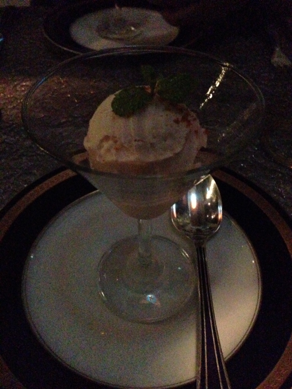 Guava and Piri Piri Olive Sorbet... There is a hit of spice that you get at the end which is amazing...