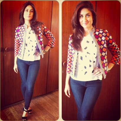 Kareena Kapoor in a Zara top, Payal Pratap jacket, J Brand denims and Gucci shoes