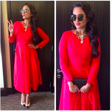 Sonakshi Sinha in a Shift by Nimish Shah dress, Chanel shoes and Outhouse jewellery