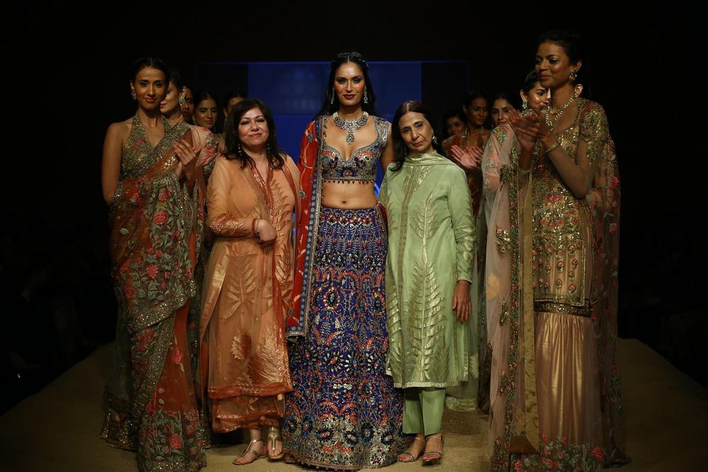Ashima and Leena  with Ujjwala Raut at BMW India Bridal Fashion Week 2014 in association with AZVA at DLF Emporio.jpg