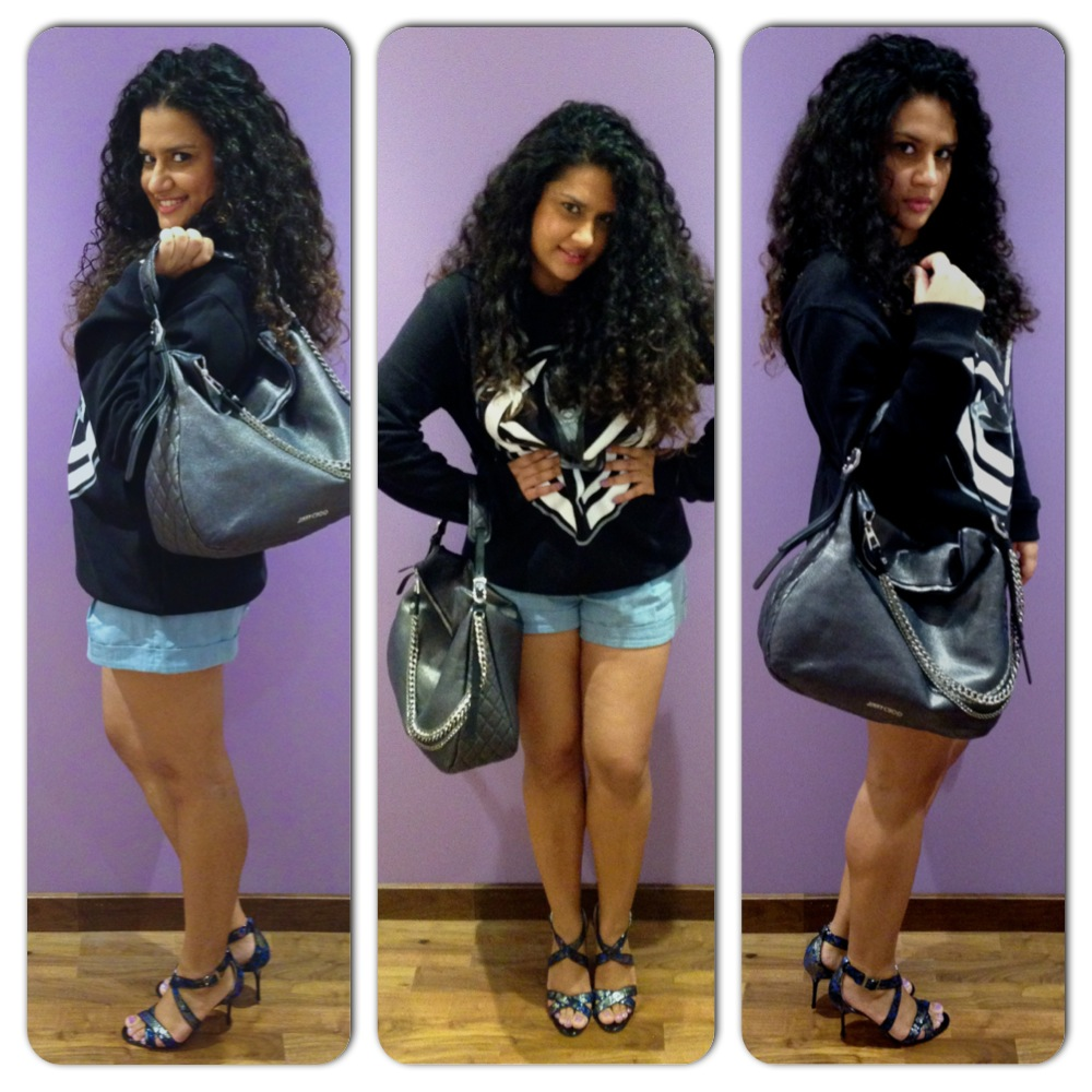 Bag and Shoes - Jimmy Choo; Sweatshirt - Givenchy, Shorts - Alice + Olivia