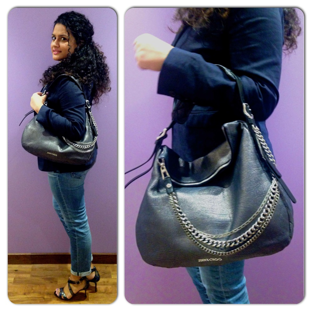Shoes and Bag from Jimmy Choo, Blazer - Burberry, Top - Emporio Armani, Jeans - Adriano Goldschmied