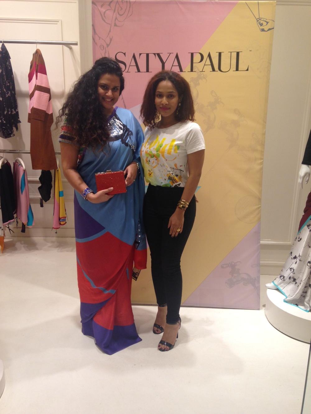 With Satya Paul's Creative Director, Masaba Gupta  Saree & Clutch both from Satya Paul