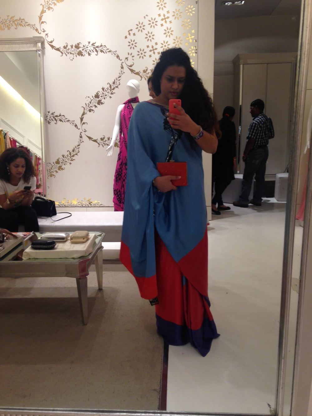 Saree & Clutch both from Satya Paul