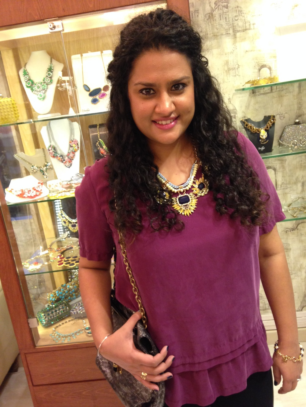 Moi, at the Bansri Jewellery Lounge wearing a piece from Bansri Mehta's latest collection