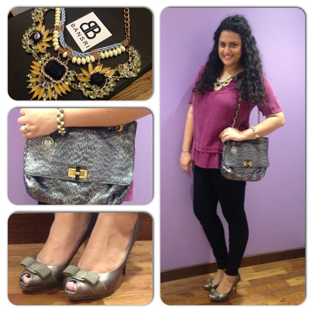 #WIW - Bansri Mehta neckpiece, Lanvin bag, Burberry silk blouse, Gold Sign Jeggings, Salvatore Ferragamo peep-toes and Louis Vuitton bracelet