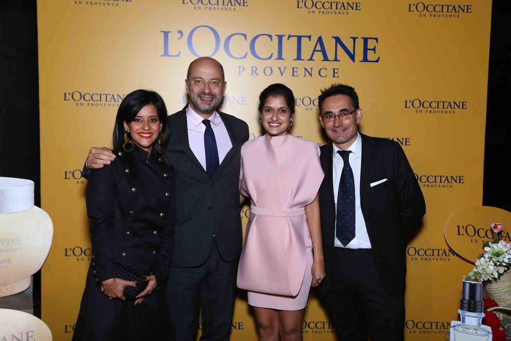 Rima Mehra, French Ambassador François Richier, Vidushi Mehra and L'OCCITANE's Country Head Gilles Moutounet