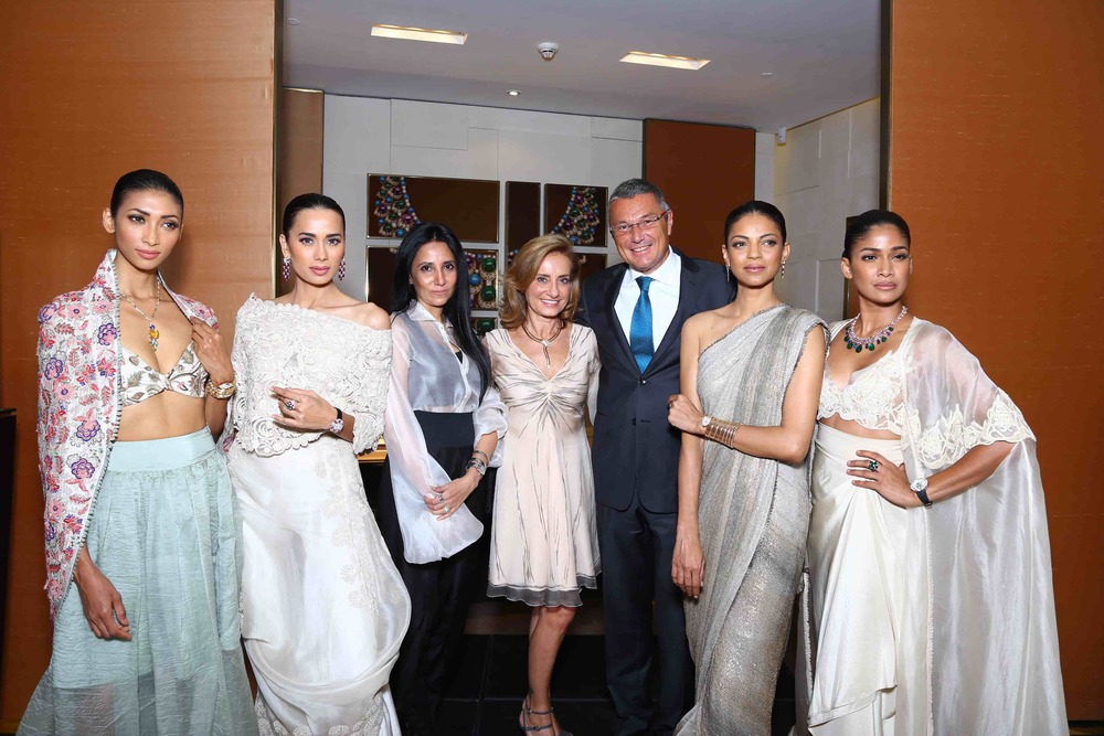 Models Lakshmi Rana, Sonalika Sahay, Nayanika Chatterjee and Carol Gracias with designer Anamika Khanna, Creative Director - Bulgari Lucia Silvestri and CEO - Bulgari Jean Christophe Babin at the Store