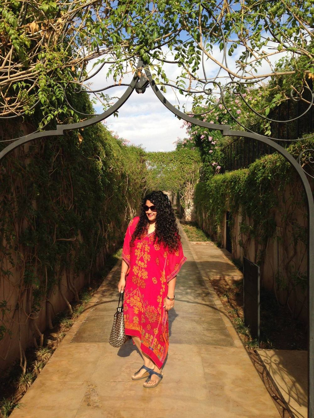 Kaftan Dress: Label by Ritu Kumar, Sandals: Birkenstock, Ring: Isharya, Bangle: Hermes, Sunglasses: Dior