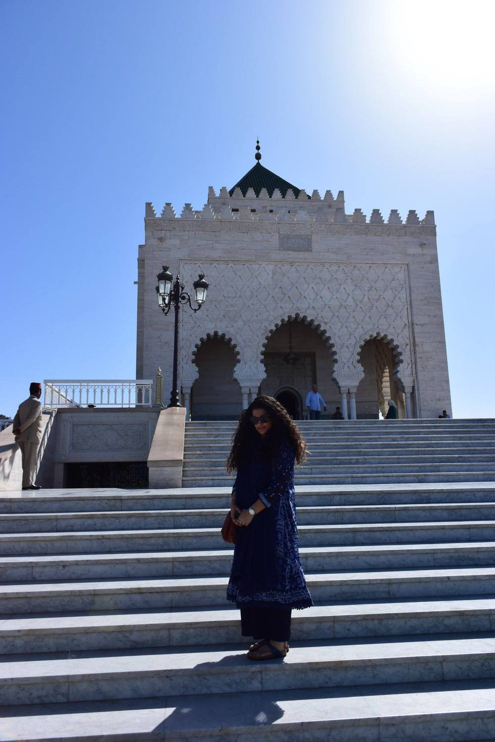 Rabat Mausoleum of Mohammed V    Kurta, Pants & Stole - all part of a set: Label by Ritu Kumar, Sling: Bottega Veneta, Sunglasses: Dior: Bangles: Hermes, Sandals: Birkenstock, Ring Bulgari