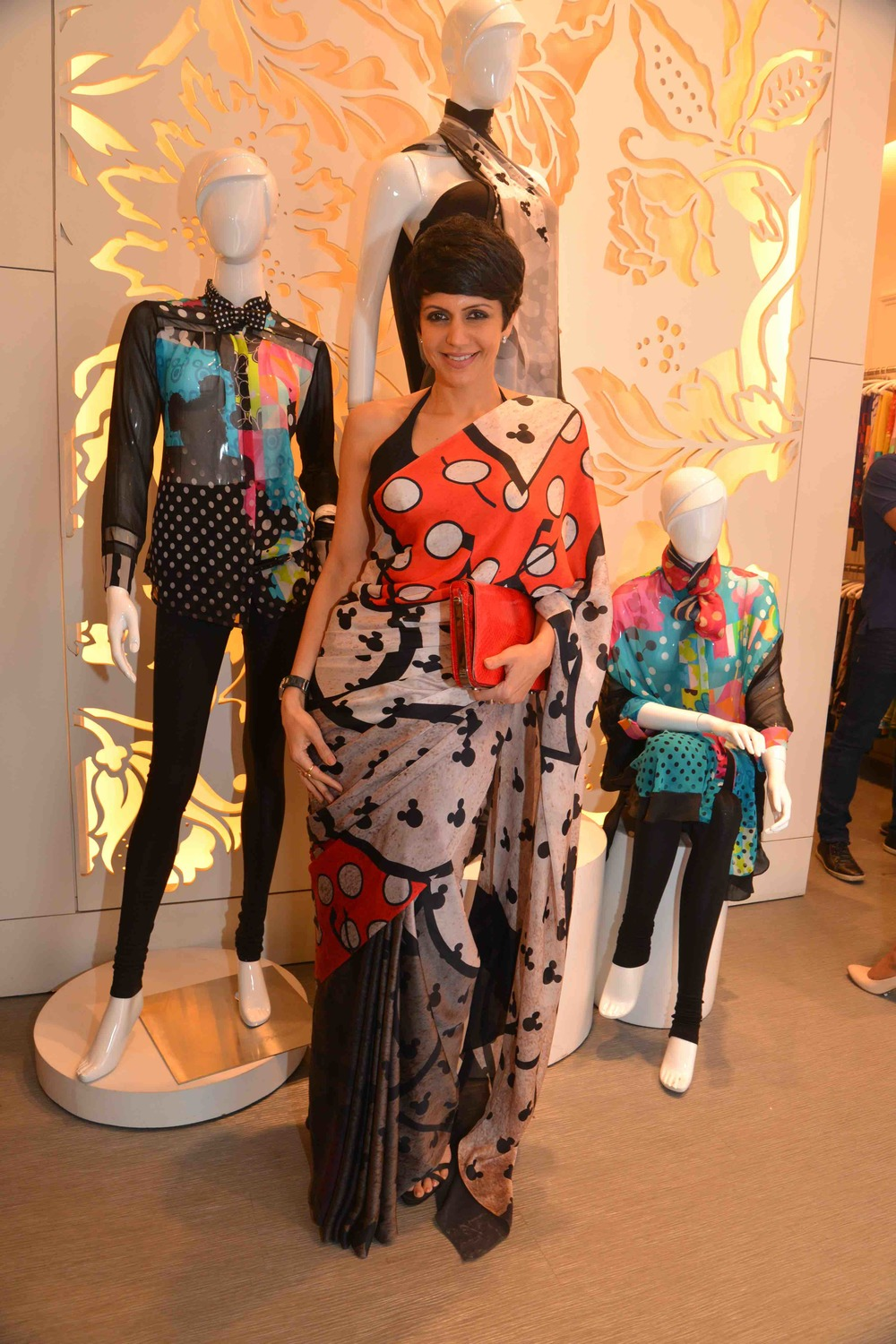Mandira Bedi in the Disney Monopop by Satya Paul Saree