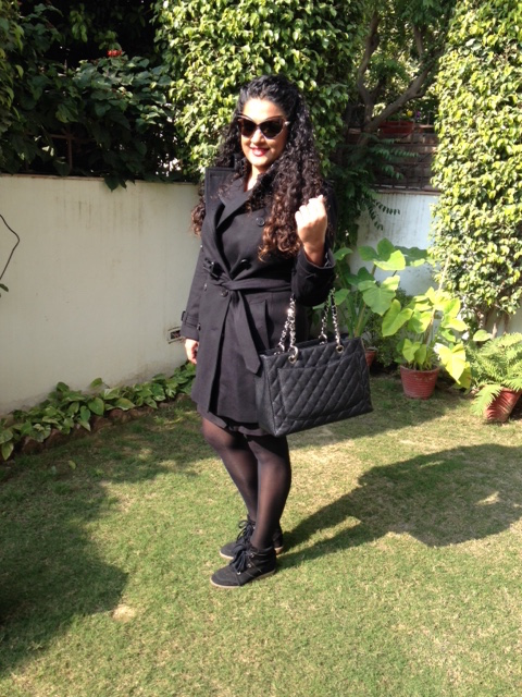 Dress & Jacket: Burberry, Bag: Chanel, Bug: Fendi, Stockings: Marks & Spencer, Shoes: Isabel Marant, Lipstick & Sunglasses: Dior