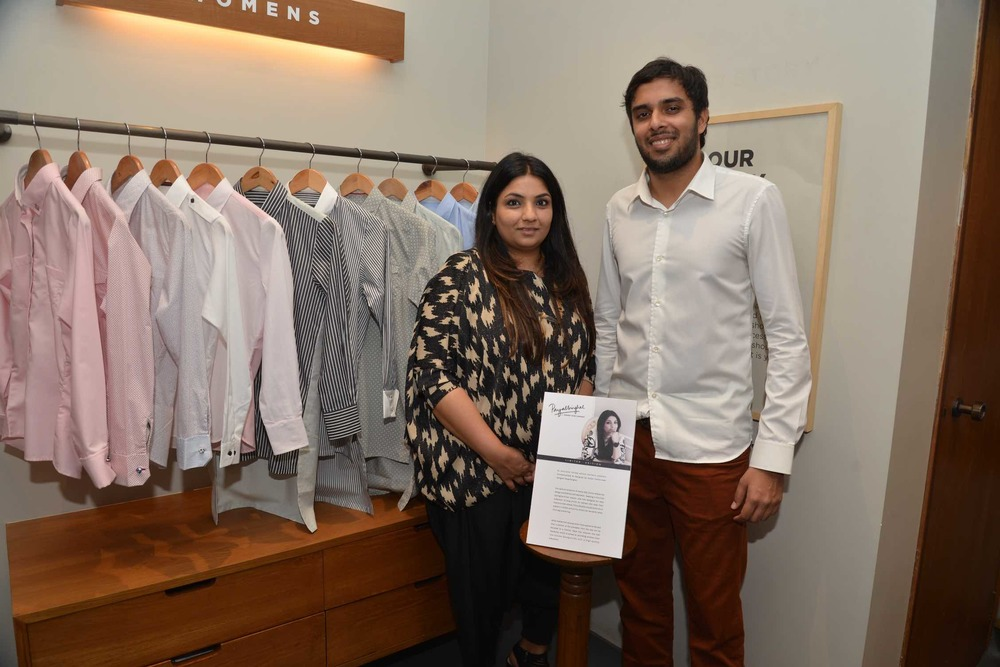 Designer Payal Singhal with Akshay Narvekar, Founder - Bombay Shirt Company  at the launch of Payal Singhal's capsule collection for BSC.jpeg