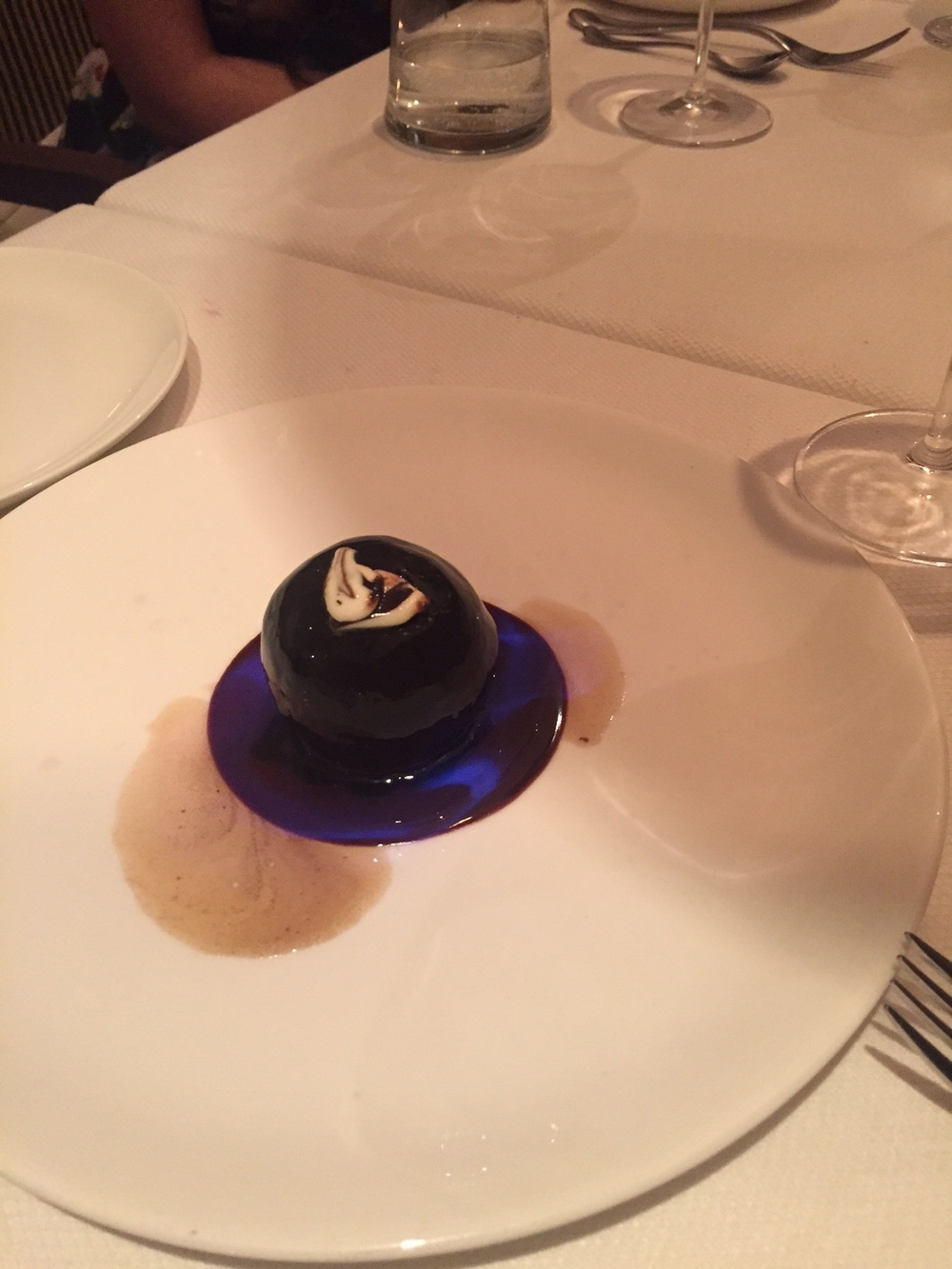 'Old monk' Rum Ball, 70% Valrhona Chocolate Sauce