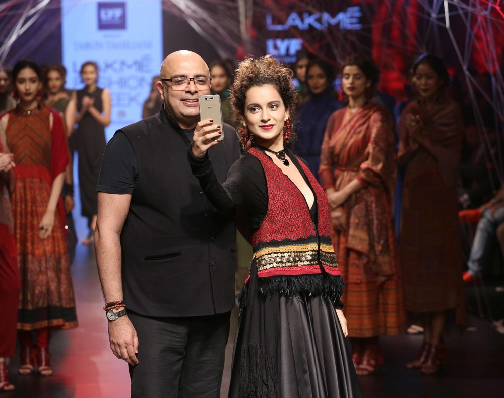 Tarun Tahiliani with actress Kangana Ranaut at Lakme Fashion Week Winter....jpg
