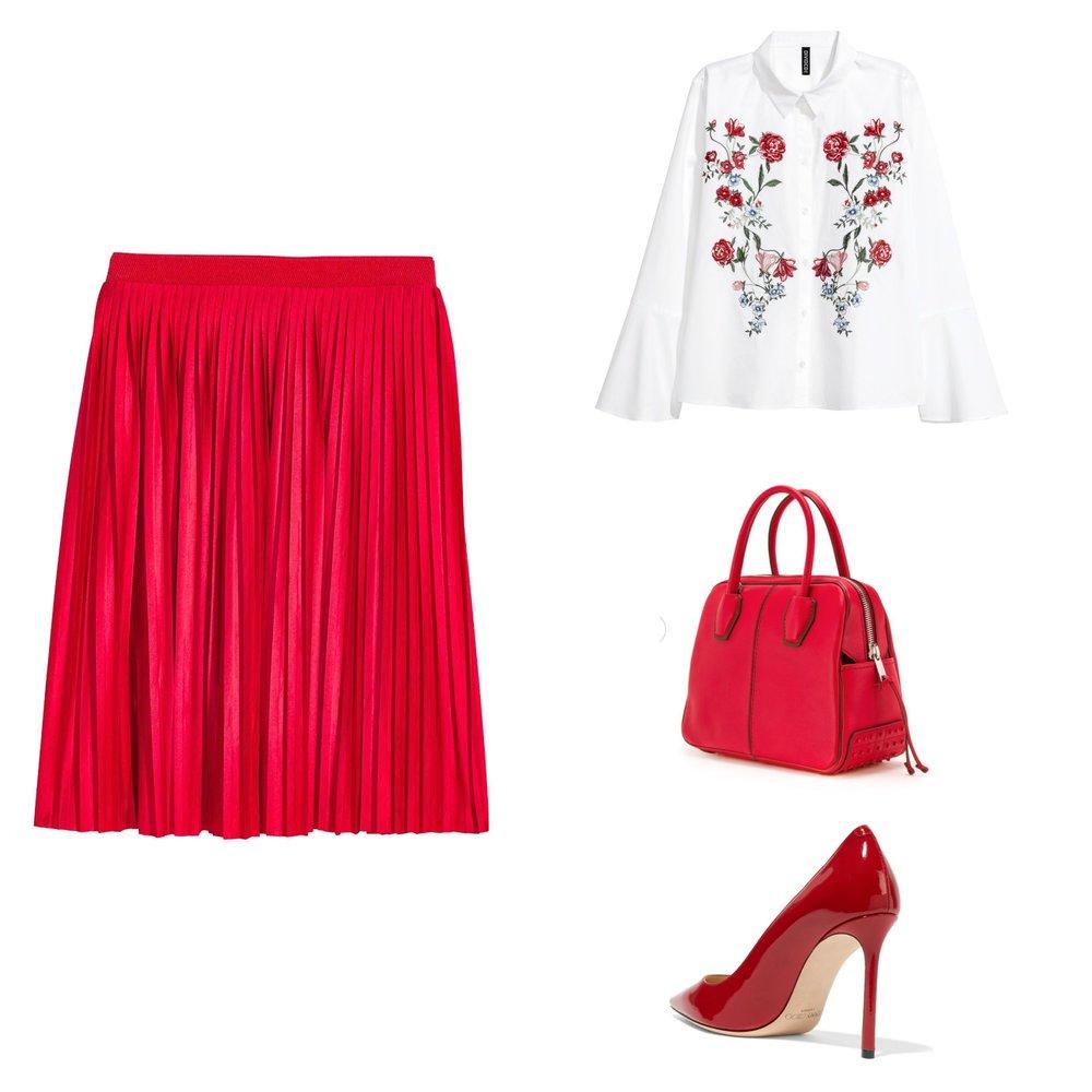 Skirt & Blouse: H&M; Shoes: Jimmy Choo (Net-A-Porter); Bag: Tod's (Farfetch)