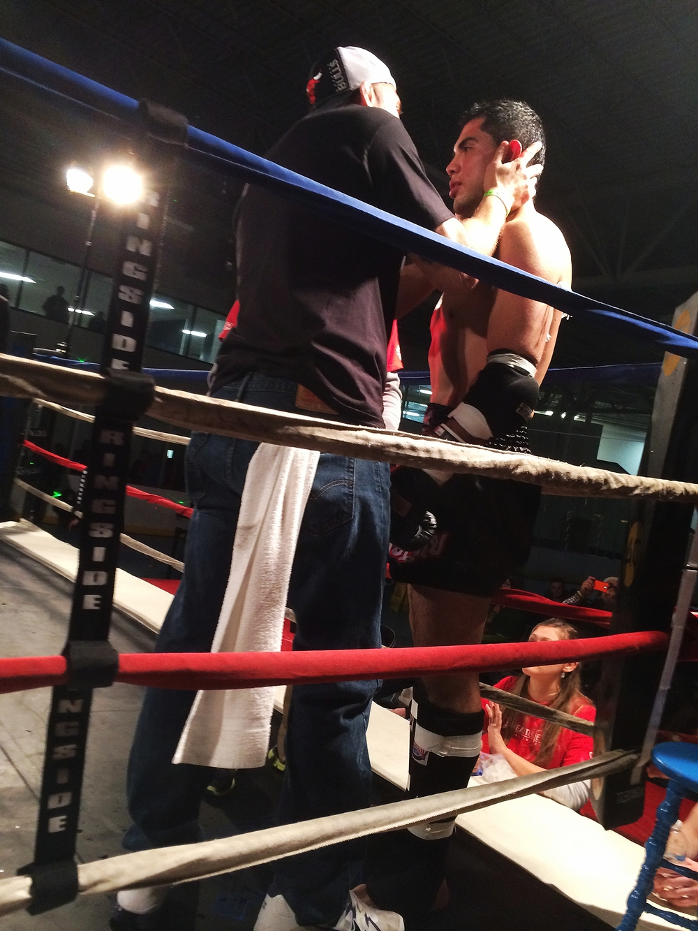 Raul in the ring back on his feet after the knock out.