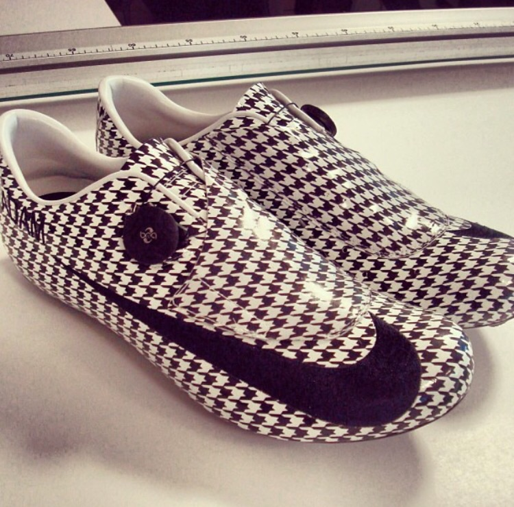 These Houndstooth cycling slippers dropped a bespoke bomb when they appeared. Credit: Adam Blythe on Instagram
