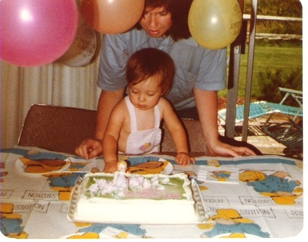 My 1st birthday in 1978 with my mom.