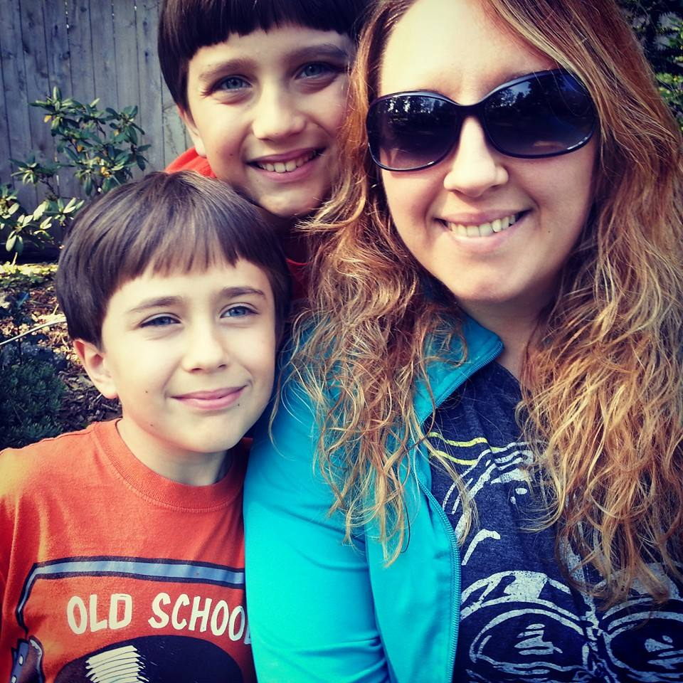 A cellphone picture of me and my boys.