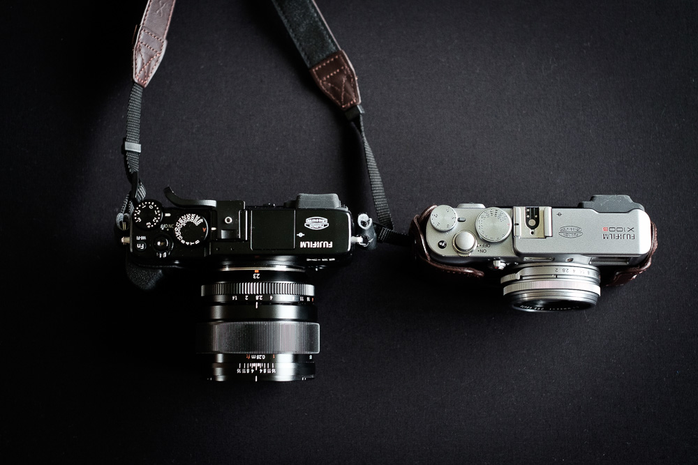 My XE2 with the 23mm mounted next to my X100s.The XE2 body is comparable to the X100s, but when the 23mm F1.4 is mounted the difference is substantial.