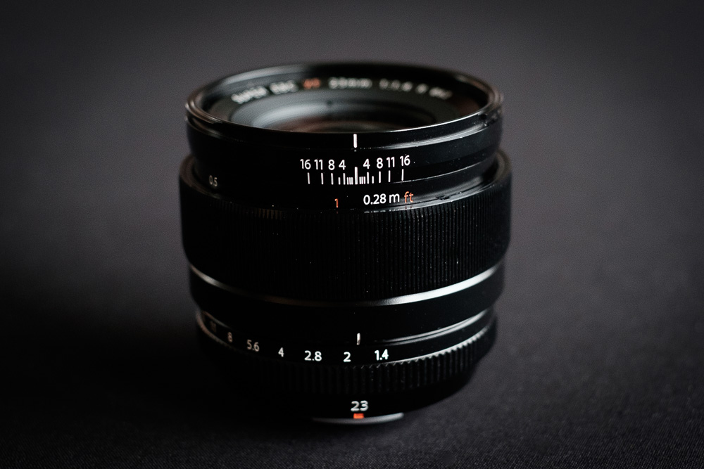 The 23mm F1.4 has a manual clutch focus mechanism. When engaged it displays values for Zone Focusing.