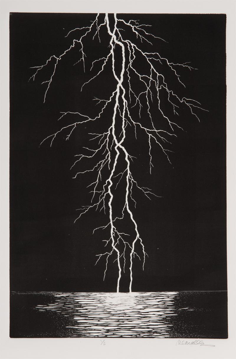 "Lightning Linocut | 12x18"""